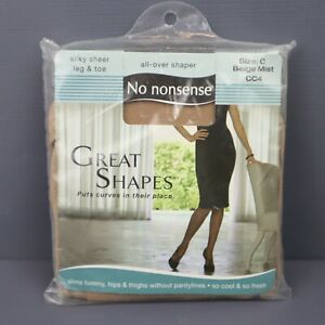 No Nonsense Great Shapes Pantyhose - Beige Mist - Size C - Sheer Toe - NOS