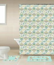 Designer 15-Piece Bathroom Accessory Set 2 Bath Mats Shower Curtain & 12 Rings