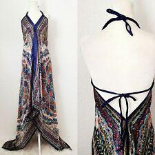 Y2K Women's S/M/L Satin Floral Boho Hawaiian Halter Hankie Maxi Dress