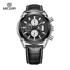 MEGIR SL2020G Leather Quartz Watches Men Strap Waterproof Wristwatch Black