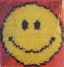 "Wonderart Latch Hook Kit 12""X12"" Smiley Face Rug Hooking 70s Smiling Face !"