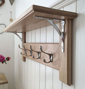 Vintage Style Oak Coat Rack With Shelf – Arched Contemporary Modern Chrome