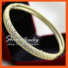 14K YELLOW GOLD GF BA47 SIMULATED DIAMOND WOMENS OVAL SOLID 60MM BANGLE BRACELET