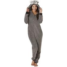 Women's Sleep & Co. Plus Animal Hoodie One Piece Pajamas Gray 3X #NJU46-G15
