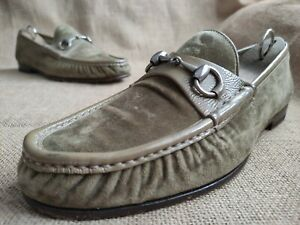 Gucci Men's Green Velvelt & Patent Silver Horsebit Loafers Size US 9.5 || UK 8.5