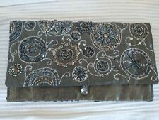 """Accessorize Silver Sequins & Beads Satin-Lined Fabric Evening Clutch Bag 9"""" X 5"""""""