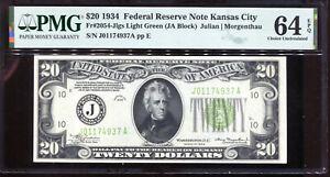 1934 $20 Federal Reserve Note Kansas City LGS Light Green J01174937A PMG 64EPQ