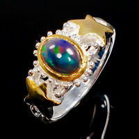 Jewellery Design Natural Black Opal 925 Sterling Silver Ring Size 6.5/R92721