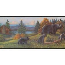 """A 9""""hx15'l, Prepasted Border Showing Forest, Lake, And A Mother Black Bear."""