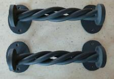 Wrought Iron Door Pulls - One Pair - Matte Black - Artisan Crafted One of a Kind