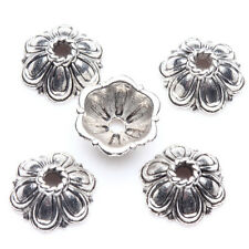 25Pcs Tibet Silver Cute Flower Spacer Bead Caps Jewelry Findings DIY 10x4mm