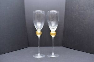 "2 Union Street st Glass Manhattan Crystal Claret wine goblets Gold Ball 10.25"""