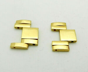 PAIR OF 14K SOLID GOLD LINKS FOR 16mm MENS WATCH BAND PRESIDENT-STYLE 5.8gr