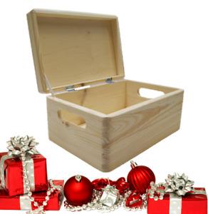 Wooden Decorative Pinewood Keepsake Memory Storage Box w/ Lids PREMIUM   2 Sizes