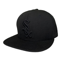Chicago White Sox New Era 59FIFTY Black Out 100% Wool Fitted Hat Cap Size 7