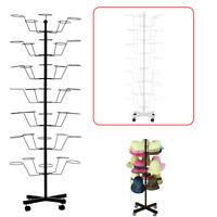7 Tier Metal Hat Cap Rack Hanger Display Stand Rotating with 4 Wheel Adjustable
