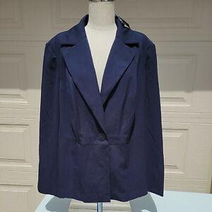 Lane Bryant Jacket Blazer Navy Blue New Plus Size 18 Long Sleeve Lined