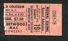 Original 1977 Fleetwood Mac concert ticket stub Greensboro NC Rumours Tour