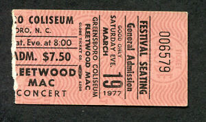 Original 1977 Fleetwood Mac concert ticket stub Greensboro NC Rumours Tour