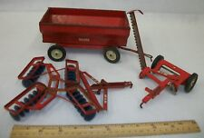 Vintage Tru Scale Toy Farm Equipment Wagon & Implements Lot
