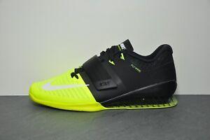 Nike Romaleos 3 Black Yellow Weight Lifting Training Shoe Trainer - Size UK 13