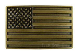 """American Flag Men's Belt Buckle USA Pride Antique Bronze Fits 1.5"""" Belts Stars"""