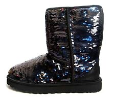 UGG Australia 'Classic Short Black Sparkle' Sequin Boot Sz 8 Women's