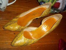 Vintage Scruples by Emenghi Yellow Snakeskin Shoes High Heels 6.5 Women Italy?