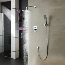 Chrome Brass Square Bathroom Modern Chic Mixer Rain Shower Double Head Set Unit