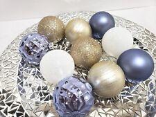 "10 Coastal Beach Periwinkle White Gold Christmas Ball Glitter Ornaments 2.5"""