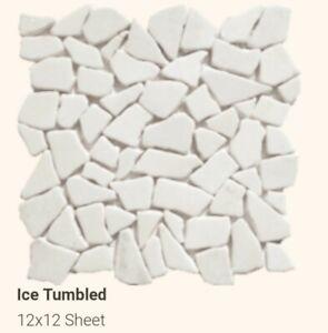 "Pebble Stone Tile Mosaic. White and Grey 12"" x 12"" - Stone Mosaic Tile."