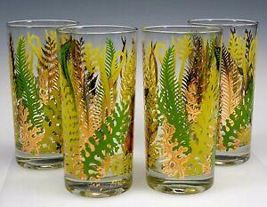 GEORGES BRIARD GLASS SET 4 GREEN FERN EVERGREEN TUMBLERS BAR BARWARE