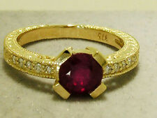 R196 Genuine 9ct Solid Yellow Gold NATURAL Ruby & Diamond Engagement Ring size N