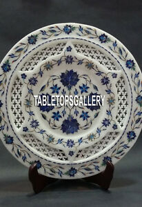 """10"""" Marble Plate Filigree Arts Inlaid Lapis Floral Marquetry Kitchen Décor H4049"""