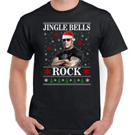 THE ROCK CHRISTMAS T-SHIRT, Mens Funny Dwayne Johnson Unisex Tee Top WWF Movie
