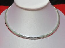 "16"" 6MM STERLING SILVER PLATED OMEGA CHAIN NECKLACE"