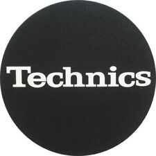 Technics Logo DJ Slipmats (pair, black felt with white logo print)
