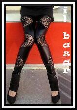 leggings  nero lucido con inserti pizzo taglia unica