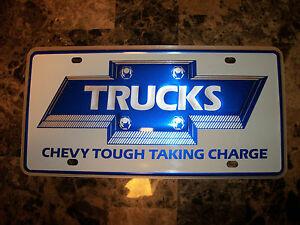 NOS Bowtie Chevrolet Pickup Trucks GM Dealer Dealership License Plate Nice!