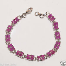 Pink ruby 48 oval stones tennis bracelet silver overlay free shipping