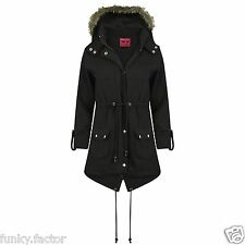New Womens Ladies Parka Fleece Jacket Trench Coat Faux Fur Hooded Coat Plus Size