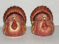 YANKEE CANDLE CERAMIC TURKEY CANDLE HOLDERS THANKSGIVING VERY COLORFUL NIB