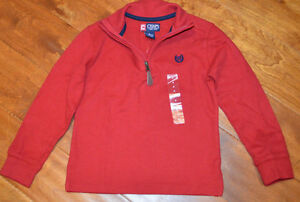 Boy's Chaps Red Long Sleeve 1/4 Zip Pullover Shirt Top Sizes 4, 5, 6, 7