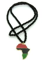 "NEW AFRICA MAP PENDANT 6mm/30"" WOODEN BEAD CHAIN NECKLACE RC2082G"