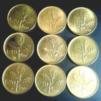 LOTTO DI 9 MONETE DA 20 LIRE QUERCIA - REPUBBLICA ITALIANA  ANNI MISTI