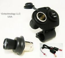 Motorcycle Handlebar Mount USB Charger, Lighter Socket, Plug w/Skirt & Boots 12V