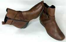 Ecco Felicia Womens Ankle Boots Brown Leather Buckle Side Zip Boho EUR 36 US 6.5