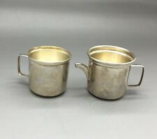 ANTIQUE STERLING SILVER MINIATURE TEAPOT & CUP SET! WOW! MUST SEE!