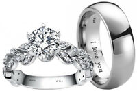 His And Hers Titanium/925 Sterling Silver Wedding Engagement Ring Band Set