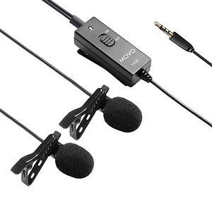 Movo LV20 Dual Lavalier Clip-on Interview Microphone for Canon Nikon DSLR Camer
